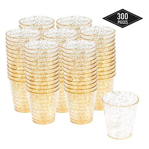 300 Hartplastik Schnapsgläser mit Elegantem Goldglitter, 1oz(30 ml) - Einweg, Wiederverwendbar, Bruchsicher Kunststoff Shotgläser - Schüsse, Wodka-Gelee, Partys, Hochzeiten, BBQs, Weihnachten.