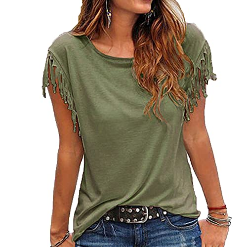 KeYIlowys Xia Chun-Color Casual Short-Sleeved Round Neck Tassel Knotted t-Shirt Blouse Green
