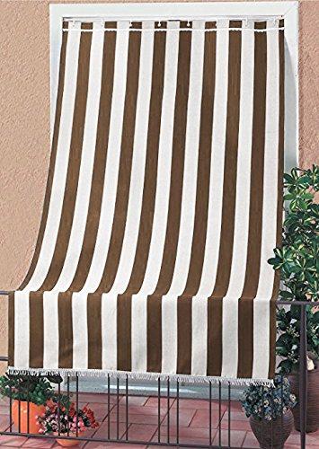 IlGruppone Tenda da Sole Tessuto Resistente per Esterno con Anelli Lavabile Frange Pizzo - Marrone - 140x300 cm