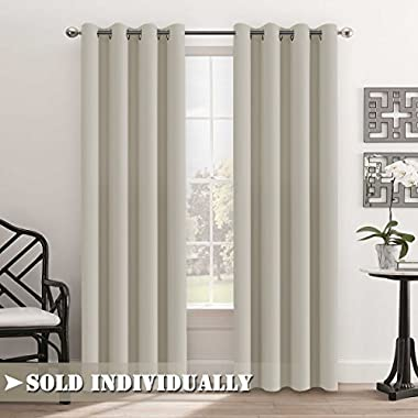 FlamingoP Living Room Curtains, Light Blocking Solid Pattern Drape, Noise Reducing, Grommet Top, One Panel 84 by 52 inch -Beige/Ivory