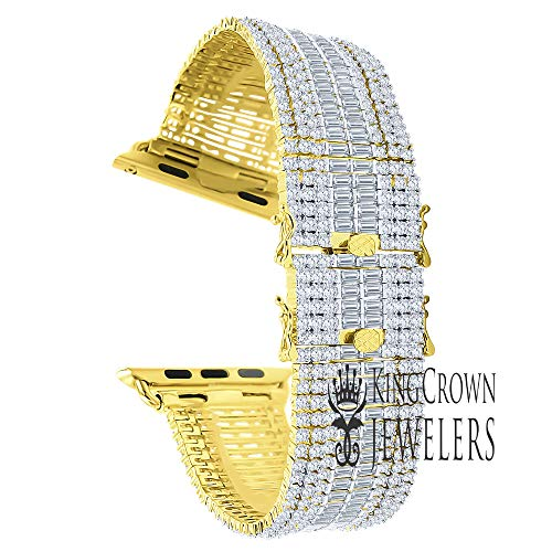 Compatible with Apple Watch Series # 4 Baguette Simulated Diamond 14K Gold Finish Custom Replacement Bracelet Adjustable Size Band 44mm (Yellow with White CZ)