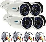 OWSOO 4X AHD 720P 1500TVL C¨¢mara Bala CCTV Exterior/Interior + 4X 60ft Cable de Vigilancia Weatherproof 30 LED IR-Cut Visi¨n Nocturna Plug y Play 3.6mm