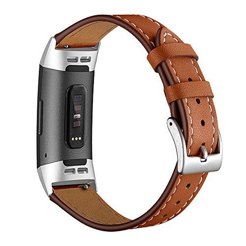 Aottom Fitbit Charge 3 Cinturino in Pelle, Cinturini Fitbit Charge 3 SE Strap di Ricambio Fibbia in Metallo Bracciale con Cinturino da Polso Band per Fitbit Charge 3 / Carica 3 SE - Marrone