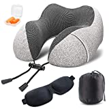 Soft Digits Memory Foam Travel Pillow, Neck Pillow Travel Kit with 3D Contoured Eye Masks, Earplugs and Storage Bag, Cotton Soft Hump Body Design Suitable for Travel, Napping
