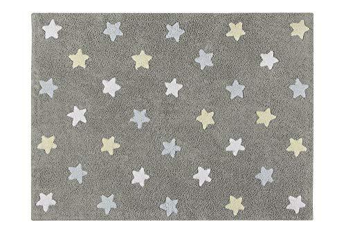 Alfombra lavable Lorena Canals con diseño de estrellas tricolor (gris/azul)