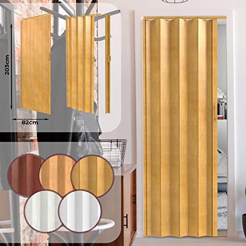 Puerta Plegable de PVC - Ancho 82cm / Alto 203cm, Efecto Madera con Color a Elegir, Ideal para Estancias en las que Deseemos Ahorrar Espacio - Puerta Corredera de Plástico para Interior