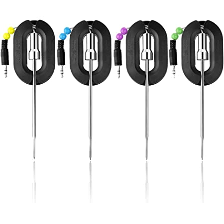 Chugod Grilling BBQ Meat Thermometer Probe - Replacement Temperature Probes 4 Pack, Stainless Steel Digital Thermometer Probes for Chugod Bluetooth Meat Thermometer