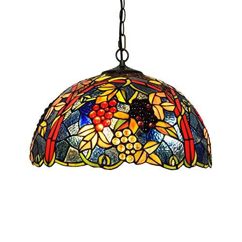 Candelabros de color - 43 cm estilo tiffany americano retro dormitorio restaurante bar pan pendiente lámpara vintage diseño sala de estar comedor vista veranda vidrio colgante luz Luces creativas de d