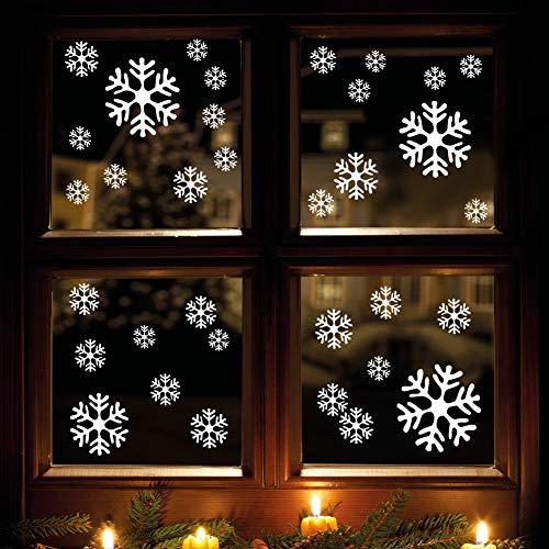 Wandtattoo-Loft Schneeflocken und Sterne 60 STK. Selbstklebend Fensterschmuck Weihnachten Fensterbild Weiß WIEDERVERWENDBAR Schaufensterdekoration Sticker Aufkleber Weihnachtsdeko Deko