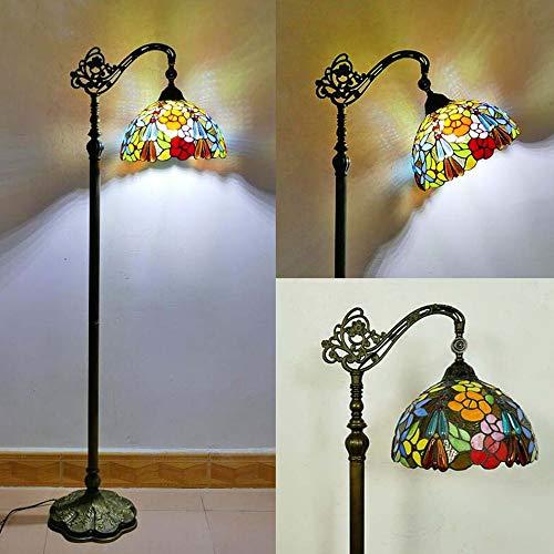 VOMI Vintage Tiffany Stehlampe, Schlafzimmer Wohnzimmer Stehleuchte, Antik Standllampe mit Fußschalter, 165cm, Retro Buntglas Lampenschirm Wohnzimmerlampe, E27 max. 40W, Deko Tischlampe,C