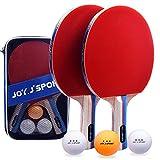 Joy.J Sport Raquette de Ping Pong, 2 Raquette de Tennis de Table + 3Balle+ 1 Sac, Set de Tennis de Table pour Débutants et Joueurs Avancés (Ensemble RÉCRÉATIF)