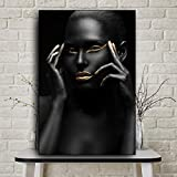 KFEKDT African Art Nude Woman Black Gold Oil Painting on Canvas Cuadros Posters and Prints Scandinavian Wall Picture for Living Room B 40x60CM