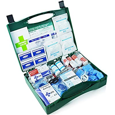 212 Piece Premium First Aid Kit- including burn gel dressings, resuscitation face shield, emergency foil blanket and tough cut shears (BSI large) from JFA Medical