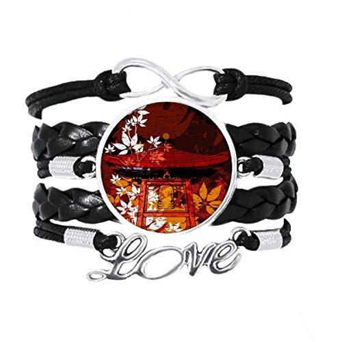 DIYthinker Japanischer Stil Blätter Pavillon-Armband Liebeszubehör gedrehtes Leder Strickseil Geschenk