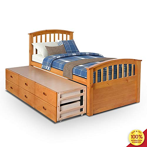 Hooseng Twin Size Wood Platform Captain Storage Bed with 6 Drawers Kids Bedroom Furniture, Oak