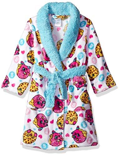 Shopkins Girls' Big Luxe Plush Robe, White, 8