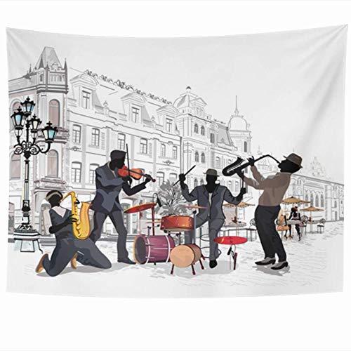 Tapeçaria de Jazz Streets Músicos em Cidade Antiga Artista Desenho de Banda de Música Design de Concerto Decoração de Casa 150 x 200 cm