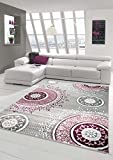 Traum Alfombra de diseño contemporáneo alfombra alfombra clásico patrón adornos circulares en crema gris lavanda rosa Größe 160x230 cm