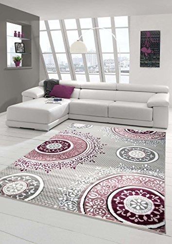 Designer Teppich Moderner Teppich Wohnzimmer Teppich Klassisch Gemustert Kreis Ornamente in Pink Lila Grau Creme Größe 80x150 cm
