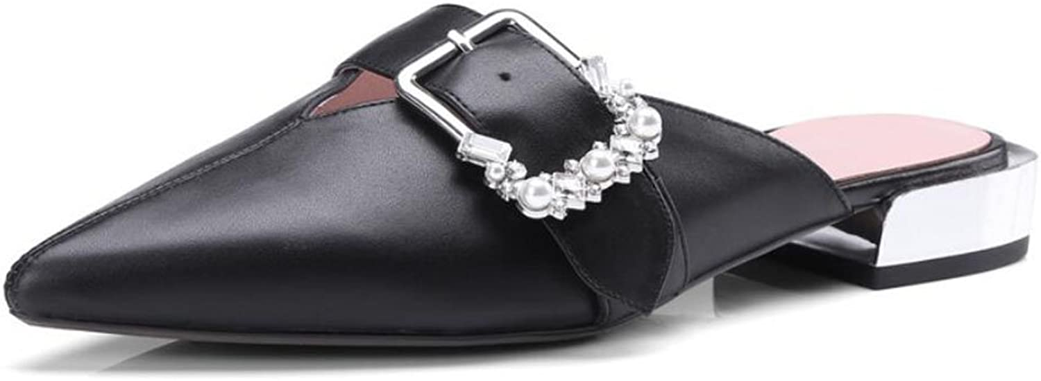 LZWSMGS Leather Ladies Leather Sandals Summer Buckle Rhinestone Slippers Flat Low Heel Casual shoes Charming Water Pump Black White 34-39cm Ladies Sandals (color   Black, Size   5.5 US)