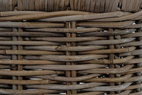 Rattankorb Groß mit Deckel, Flechtkorb auf stabilem Eisenrahmen mit Deckel / Truhe aus unbehandeltem Natur-Rattan, 70x47cm Grau - 6