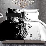 CAOCHENXI Schwarz und Weiß Ihre Seite Ihre Seite Bettwäsche-Sets Queen/King Size Doppelbett 3 Stück / 4 Stück Bettwäsche Paare Tröster