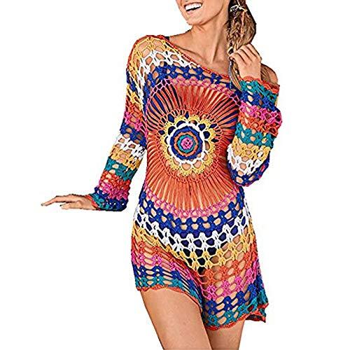 EDOTON Costumi Interi da Bagno per Donna, Costume da Bagno Bikini in Crochet con Pizzo Aperto (D- Multicolor)