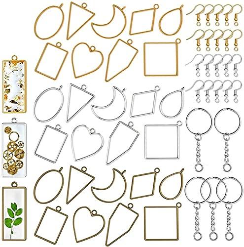 ALOMIN Borde Abierto de Resina de 55 Piezas, con Gancho de Llavero y Pendientes, Utilizado para la joyería Que Hace Collar de Resina Collar Collar Bricolaje Llavero (Color : A, Size : One Size)