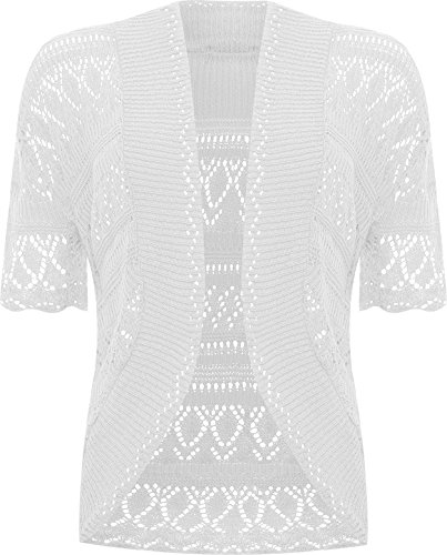 WearAll Plus Size Womens Crochet Knitted Short Sleeve Ladies Shrug Cardigan Top - White - 24-26