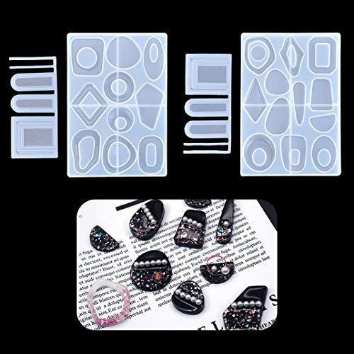 iSuperb 2 stuks Epoxy hars vormen kristal siliconen vormen sieraden gieten mallen voor het maken van doe-het-zelf ketting hanger ambachten 2 oorbellen