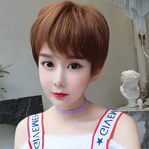 Perruque Femme Rose net Cheveux courts COS Forme courte cheveux bouclés Beau Set Vague tête perruque (Color : Light Brown)
