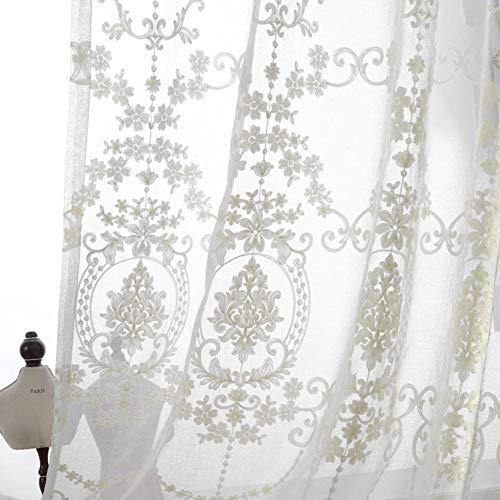 WJXBoos Europeo Cortina De Ventana,Floral Bordado Visillos Translúcido Lino Voile Cortina Neta para Patio Villa Salón Salón Balcón Cama Canopy Blanco 200 * 270cm(79 * 106inch)
