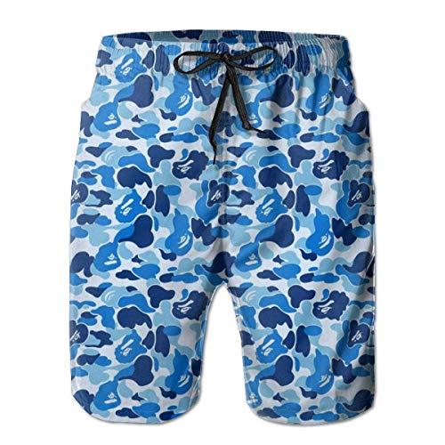 yting Mens Special Design Bape Camouflage Blau Badehose Strand Shorts Hosen mit Mesh-Futter Taschen für Papa,Größe M