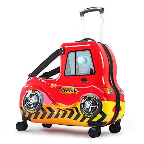 Koffer XYDBB Leuke Kids Scooter Koffer Lui Trolley Tas Op Cabine Reizen Rollende Bagage Op Wielen Kinderen 61 * 52 * 34 * 32 Cm Rood