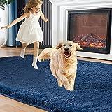 EasyJoy Fluffy Area Rugs for Bedroom Living Room, 5ft x 7ft Navy Blue Furry Carpet for Teens Room, Shaggy Throw Rug for Nursery Room, Fuzzy Plush Rug for Dorm, Cute Room Decor for Girls Boys Room