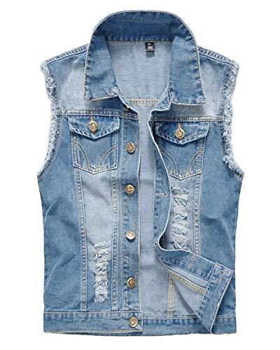 Pishon Men's Sleeveless Denim Vest Casual Slim Fit Ripped Classic Button Down Jean Jacket,Light Blue,Tagsize6XL=XL
