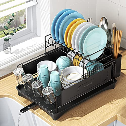 """Dish Drying Rack, BASSTOP 2 - Tier Dish Rack Drainboard Set, 16"""" x 12.4"""" x 11"""" Compact Durable Stainless Steel Dish Drainer with Adjustable Swivel Spout and Anti-Slip Silicone Caps"""