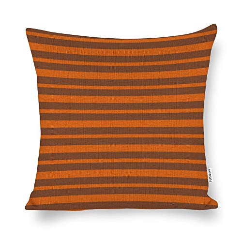 Thick and Thin Orange and Brown Stripes Cotton Linen Blend Throw Pillow Covers Case Cushion Pillowcase with Hidden Zipper Closure for Sofa Bench Bed Home Decor 26