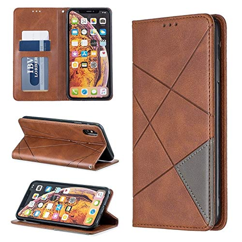Caja del teléfono de cuero de moda Compatible con el iPhone Xs Caso Max, caso del soporte del tirón del color de costura delgado Con invisible incorporado Magnetc Cierre compatibles ( Color : Brown )