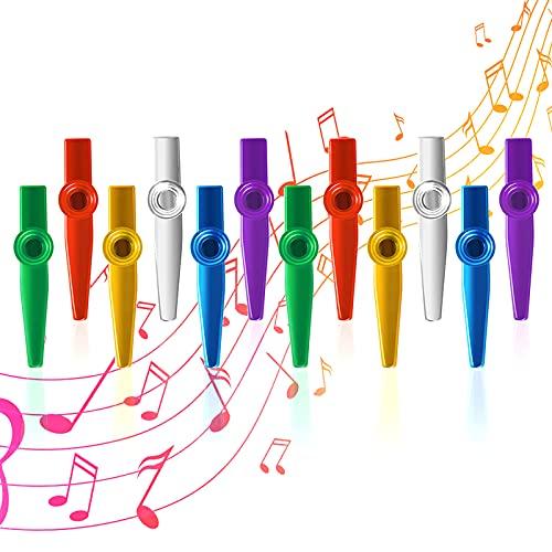 Kazoo Metal Musical Instruments Multipack Flute Diafragma para Fiesta infantil Favores Regalos, buen Compañero para Guitarra ukelele Violín y Teclado 12 piezas