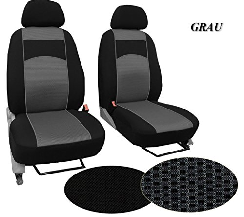 POK-TER-BUS Maßgefertigter Sitzbezug, Modellspezifischer Sitzbezug Fahrersitz + Beifahrersitz Für VW T4. Super Qualität, STOFFART VIP. In diesem Angebot GRAU (Muster im Foto).