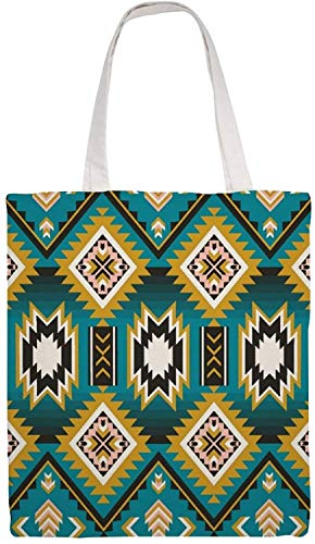 Native American Indian Aztec Geometric Shoulder Bag Canvas Tote Bag, Reusable Grocery Shopping Cloth Bags, Double-sided Printing Tote Handbags