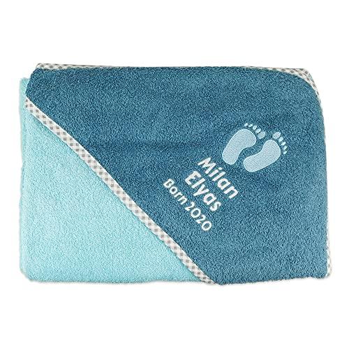 Wolimbo Kapuzenbadetuch - kristallblau - 100x100cm - personalisierbar - Badehandtuch - weiches Babyhandtuch - Geschenk zur Taufe, Geburt