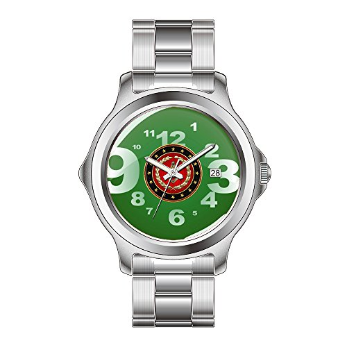 FDC Reloj de pulsera de cuarzo japonés con fecha de acero inoxidable y cuadrado masónico y brújulas, reloj de pulsera