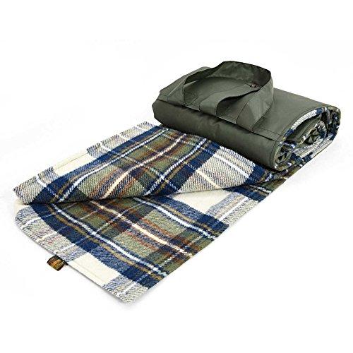 Tweedmill Eventer Schurwolle Picknickdecke–Kleid Stewart Tartan–gedeckten Blau/Oliv