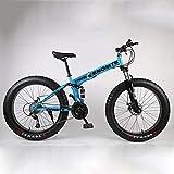 24-26In Plegables Bicicletas, Adulto Bicicleta De 21Velocidad Suspensión Completa MTB Gears Frenos De Doble Disco-Super Wide 4.0 Neumáticos Grandes Bicicletas De Alto Carbono De Acero,Azul,24in