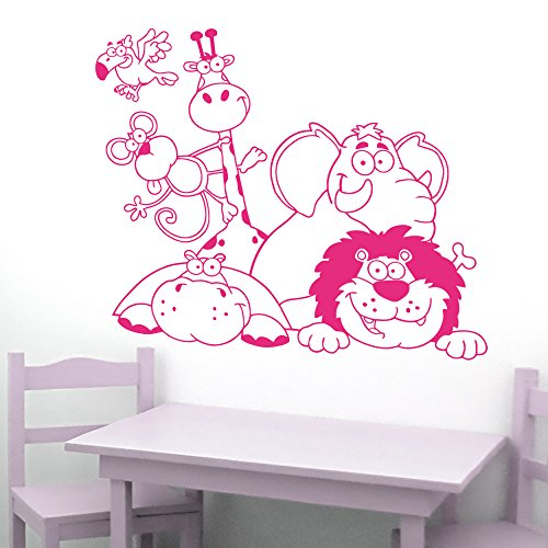 IDEAVINILO Sticker enfant animaux de la Jungle : girafa mono hippopotame éléphant et león. Dimensions : 85 x 60 cm Contemporain fuchsia