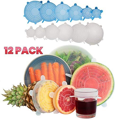 SILICONE STRETCH LIDS - Herbruikbaar milieuvriendelijk alternatief voor Cling Film. Deze rekbare hoezen passen bij ingeblikt voedsel, borden en meer. Gemaakt van hittebestendige en magnetronbestendige non-toxische voedingskwaliteit siliconen. Perfect voor het bedekken van links- en snijvruchten. Galvin Home Milieuvriendelijke Insta Deksels zijn voedselrevers van een schonere toekomst. Blauw en wit