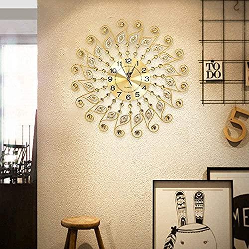 chazuohuaile Co.,ltd Reloj De Pared Reloj De Pared De Cuarzo De Estilo Europeo Dorado Único para Sala De EstarDormitorio