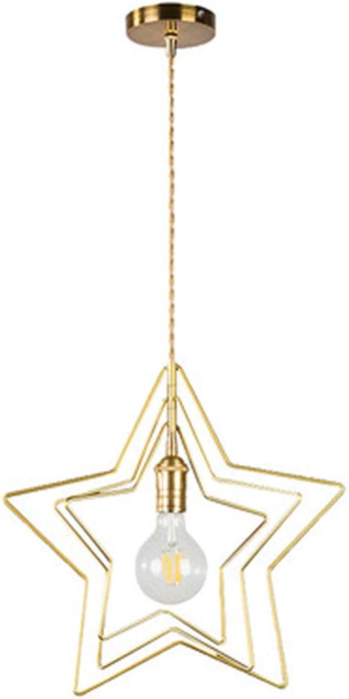 INJUICY Star Kronleuchter Anhnger, Messing Gebürstet, Innen Pendelleuchte für Wohnzimmer, Restaurant, Schlafzimmer (1 Licht)